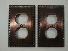 Metal Electrical Plug Cover. 2 Brush Metal brown Finish