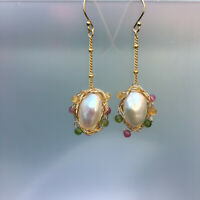 E294 Baroque freshwater pearl natural Tourmaline 14K Gold Filled earrings 50mm