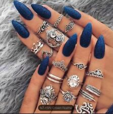 Boho Ring Set Knuckle Rings Midi Silver Fashion Thumb Stack 15 Ring Set UK Set B