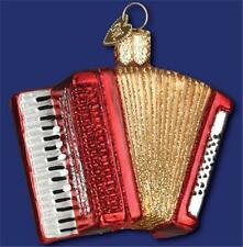 ACCORDION OLD WORLD CHRISTMAS RED BLOWN GLASS MUSICAL INSTRUMENT ORNAMENT 38039