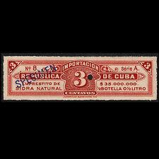 50'sCuba 3c perfin Specimen Beverage Import Revenue Mint Never Hinged Vf