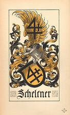 1880 ARMORIAL FAMILY CREST stampa ~ scheltner ~ Basilea