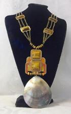 Vintage Hand Made Runway Chunky Natural Tiger Eye Sea Shell Pendant Necklace