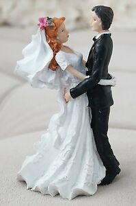 Romantic Garden Vintage Bride and Groom Cake Topper Red Hair Flower in Hair