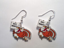 "Turkey Earrings ""Eat Beef"" Humor Charms Thanksgiving"