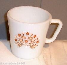 PYREX Vintage White Tan Floral Design Cup Mug