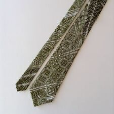 Hawaiian Geometric Pattern Mens Neck Tie Cotton Green White Kanaka Made In Hawai