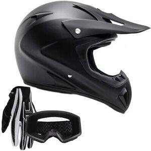 Adult Motocross Helmet Gloves Goggles DOT Matte Black