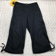 Chico's Womens Cropped Capri Cargo Pants Size 1 (8) 100% Cotton Black ir742