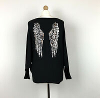 Valentyne Jumper Angel Wing Sequin Black Knitted Made In Italy One Size 10 12 14