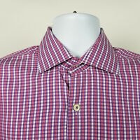 Peter Millar Mens Purple Red Check Plaid Dress Button Shirt Size Medium M
