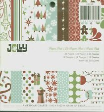 Jolly Christmas Holiday Winter Blue Red Green 6 x 6 American Crafts Paper Pad