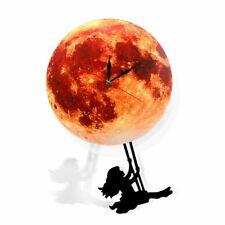 Golden Moon Pendulum Wall Clock Swinging  Home Decor Super moon Full Moon Clock