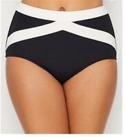 Seafolly Women's 236776 Pop Black High-Waist Bikini Bottom Swimwear Size 8