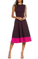 ELIZA J 6 Maroon Contrast Hem Sleeveless Midi Dress Sleeveless $148