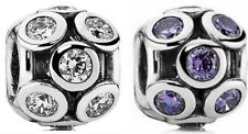Authentic PANDORA Openwork Sparkling Circles Charm 791153CZ Clear OR Purple CZ