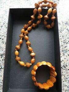 Holzperlen Kette & Holz Armband