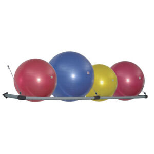 Power Systems Wall-Mounted Stability Ball Storage Rack for Gym or Home, Fits 4!