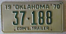 Oklahoma 1970 COMMERCIAL TRAILER License Plate HIGH QUALITY # 37-188