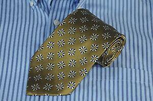 Jos A Bank Corporate Men's Mustard Gold Black & White Geometric Silk Necktie Tie