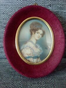 Miniature painting, Italian Jeweled lady, early 20th in period maroon oval frame
