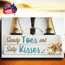 """""""SALTY KISSES"""" Wooden Rustic Beach Plaque / Sign (FREE POST)"""