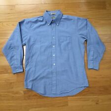 VTG 80s L.L. Bean Button Down Blue Oxford Shirt 16.5-33 Cotton Blend USA Made