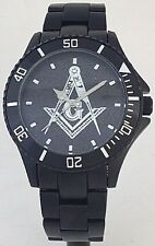 BLACK ALUMINUM MASONIC WATCH - SQUARE & COMPASS MEDALLION DIAL - NEW
