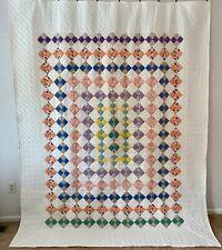 New ListingVintage Farmhouse Handmade Quilt Trip Around the World 4 Patch on Point