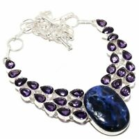 Sodalite, Amethyst Gemstone Handmade 925 Sterling Silver Necklace D367