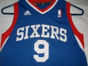 Andre Iguodala 9 76ers Sixers Philadelphia NBA adidas Blue Jersey Boy's Small
