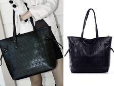 Women's Skull Print Black Faux Leather Shoulder Bag Hobo Satchel Tote Handbag