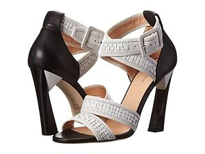 NIB $1,095 Calvin Klein COLLECTION VERA woven sandals leather heels shoes 37/7