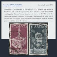 Regno d'Italia 1937 Augusto i due alti valori PO n. 424/425 Certificato Usati