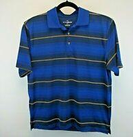 Grand Slam Golf Short Sleeve Men's Large Golf Shirt Blue w/Gold & Black Stripe