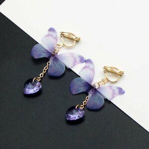 2021 NEW Long Tassel Crystal Pearl Earrings Women Butterfly Drop Dangle Ear Stud