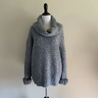 Express Mohair Wool Grey Chunky Knit Funnel Neck Sweater Large