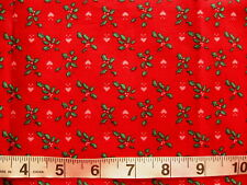 """1 yd x 40"""" Cotton Fabric Christmas Red with Green Ivy & Pink Hearts"""