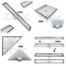 Stainless Steel Tile Insert Stealth Floor Waste Grate Water Shower Drain Channel