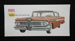 "1959 Edsel ""Ranger 2-Door Sedan Jumbo Postcard"" HEAVY STOCK 11"" LONG UNUSED NICE"