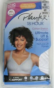 Playtex 18 Hour Ultimate Lift & Support Wire Free Bra 42C White #474C New