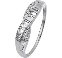 "BEAUTIFUL 9 CT WHITE GOLD DIAMOND ""I LOVE YOU"" CROSSOVER ETERNITY RING Valentine"
