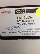 "Kowa - LM12JCR - Lens - CCTV -12mm - F1.4 - 2/3"" - Manual Iris - C-Mount - BLK"