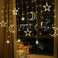 LED Star Moon Fairy Lights Curtain String Lamp Garland Decorations +AU Adapter
