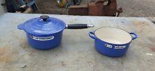 BLUE LE CREUSET, CASSEROLE No18 PAN & LID No 20 unused