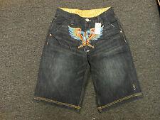 COOGI Men's BLACK Denim Jean Shorts NWT Bird/Purple/Red Pocket  $155 RETAIL