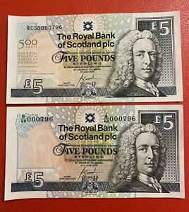 RBS 2 X £5 Paper Notes UNC Matching Low Numbers 796.