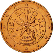 [#461224] Autriche, 2 Euro Cent, 2002, SPL, Copper Plated Steel, KM:3083