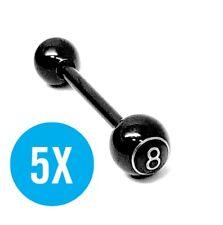 5x Tongue Bars Black Steel 14g #8 Logo