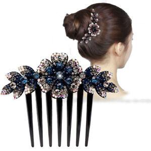 Lady  Crystal Flower Hair Comb Pins Hair Clips Girls Hair Accessories Disk Hair